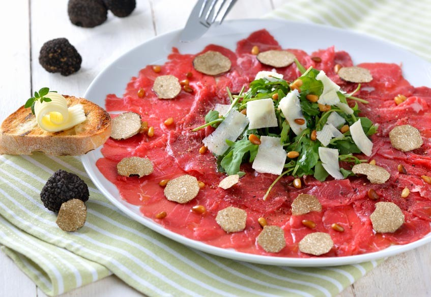 Meat Carpaccio With Black Truffles Flake