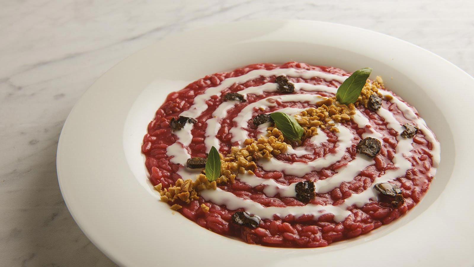 Beet Root Risotto And Sliced Truffle