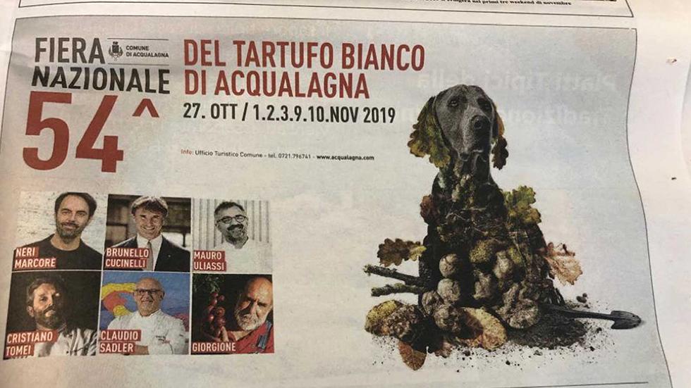 Locandina Dell'evento 54° Fiera Del Tartufo Bianco Pregiato Di Acqualagna