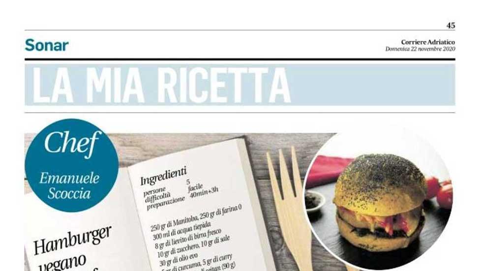 """Articolo Del Corriere Adriatico: """"La Mia Ricetta"""". T&C Tartufi Presenta La Sua Versione Dell'Hamburger Vegano"""
